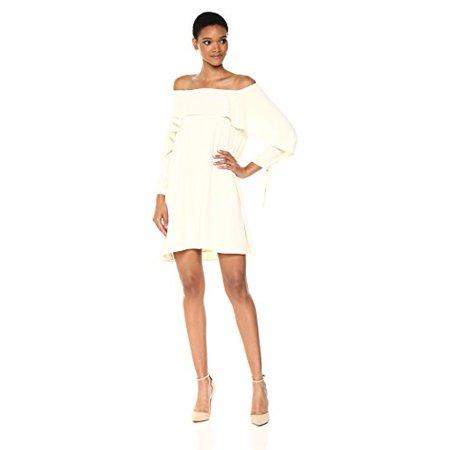 efaf0d9b249b0 Halston Heritage - Halston Heritage Women s Long Sleeve Cold Shoulder Dress  with Flounce Detail