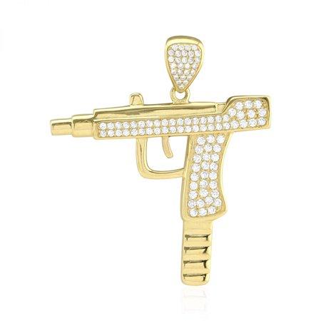 10k Yellow Gold Created Diamond Pave Uzi Machine Pistol Gun Pendant - Padme Gun