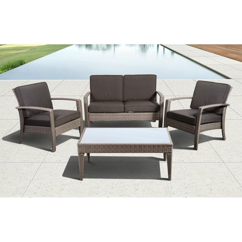 Florida Deluxe 4 pc Wicker Patio Set with Off-White Cushions in Brown
