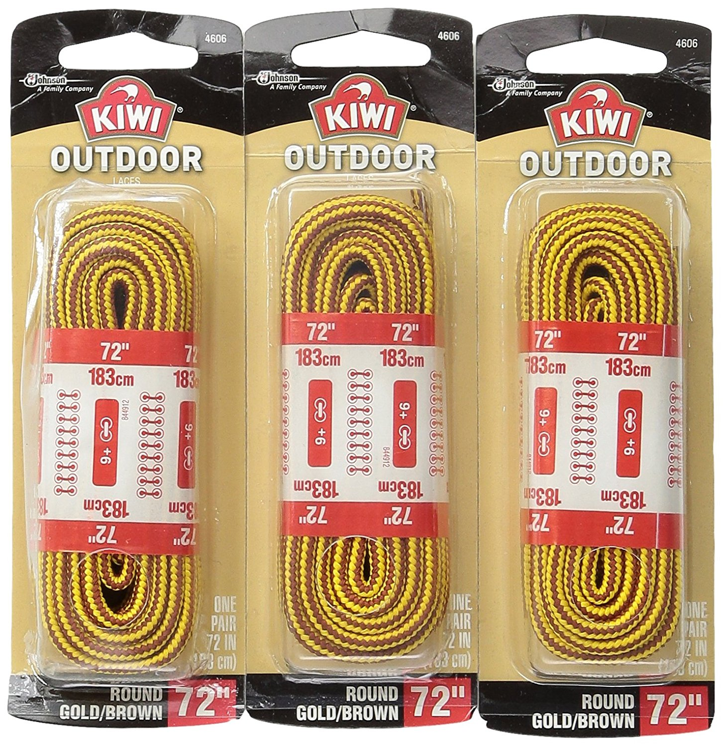 Outdoor Laces, 72-inch, Round, Gold and Brown, PR Nylon 66458 Shoes Count Black Boot Feira Glitter 54inch 3Pack Pack 10 70447 Sneakers 15 Portside Shoe leather Tent 2.., By Kiwi