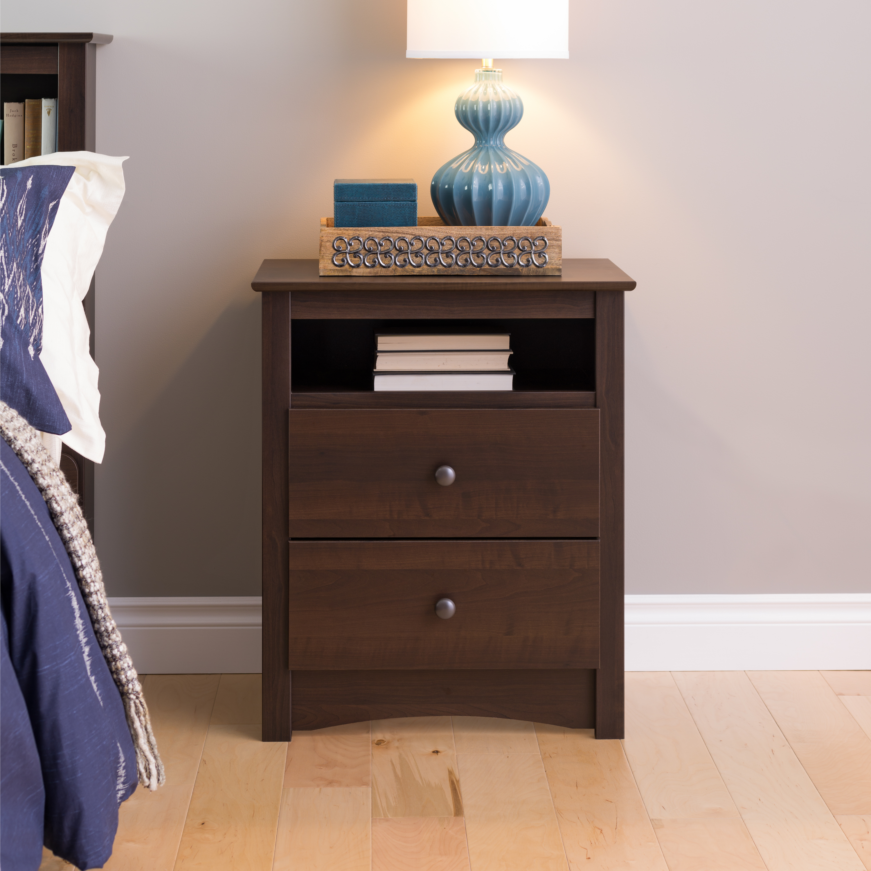 Fremont 2 Drawer Tall Nightstand With Open Cubbie Espresso