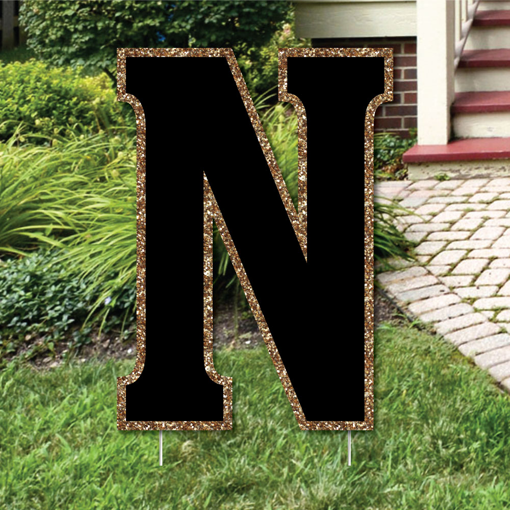 "Yard Letter N - Black and Gold - 15.5"" Letter Outdoor Lawn Party Decoration - Letter N"