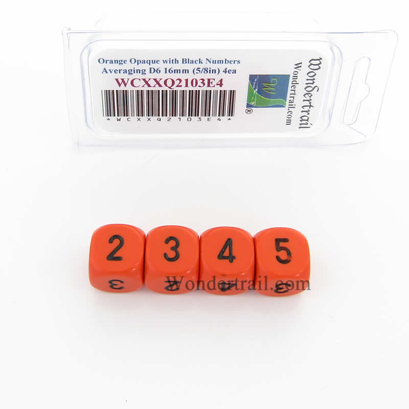 Orange Opaque Dice with Black Numbers D6 Averaging Dice (2-3-3-4-4-5) 16mm (5/8in) Pack of 4
