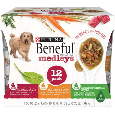 Purina Beneful Medleys Tuscan, Romana and Mediterranean Style Adult Wet Dog Food Variety Pack - (12) 3 oz. Cans