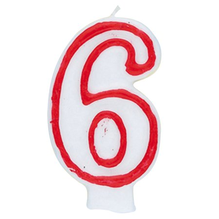 Number 6 Birthday Candle 275 In Red And White 1ct