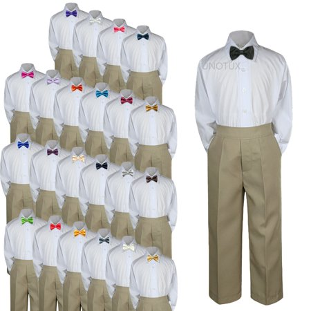 23 Color 3pc Set Bow Tie Boys Baby Toddler Kid Formal Suit Shirt Khaki Pants S-7 - Blue And Yellow Cheerleader Outfit