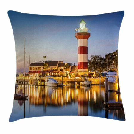 United States Throw Pillow Cushion Cover, Hilton Head South Carolina Lighthouse Twilight Water Reflection Boats Idyllic, Decorative Square Accent Pillow Case, 18 X 18 Inches, Multicolor, by Ambesonne
