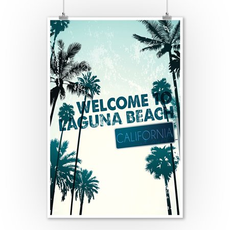 Laguna Beach, California - Street Sign & Palms - Lantern Press Photograph (9x12 Art Print, Wall Decor Travel Poster) ()