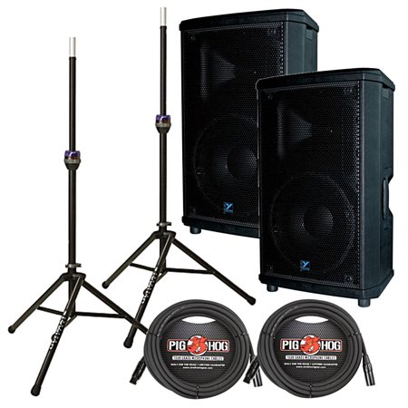 "Yorkville NX25P-2 12"" Powered Speaker Pair with Speaker Stands and Cables by"