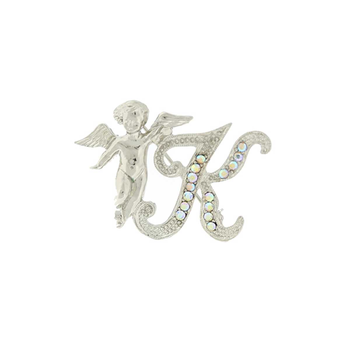 """1928 Womens Crystal Accented Initial """"K"""" Letter Pin Brooch Decoration Clip 32479"""