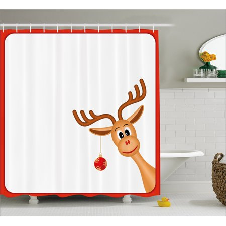 Kids Christmas Shower Curtain, Reindeer in Empty Frame with Red Border Xmas Ball Hanging from Antlers, Fabric Bathroom Set with Hooks, 69W X 75L Inches Long, Pale Caramel Red, by (Christmas Kids Borders)