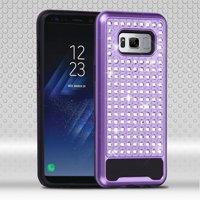 Samsung Galaxy S8 Case, by ASMYNA Diamante FullStar Hybrid Hard PC/Silicone Case Cover For Samsung Galaxy S8 - Purple/Black