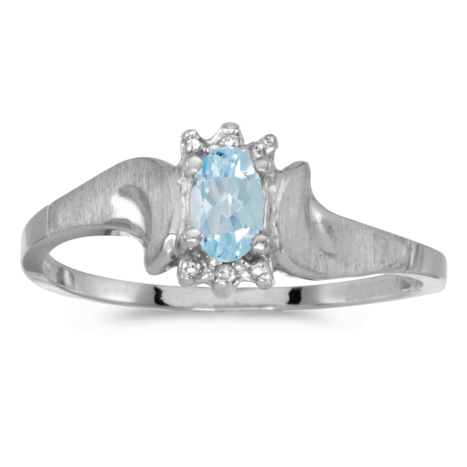 14k White Gold Oval Aquamarine And Diamond Satin Finish Ring by