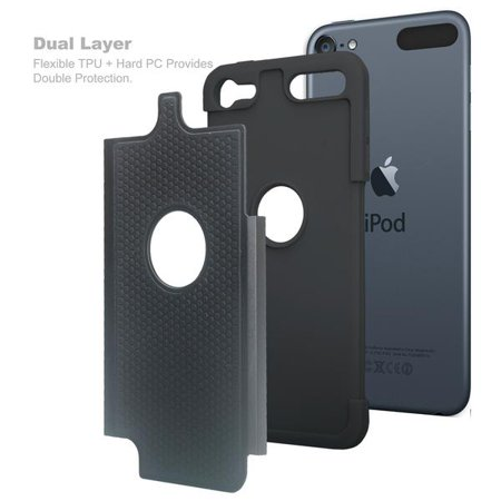 iPod Touch 5 Case,iPod Touch 6 Case,Heavy Duty High Impact Armor Case Cover Protective Case for Apple iPod touch 5 6th Generation Black - image 2 of 4