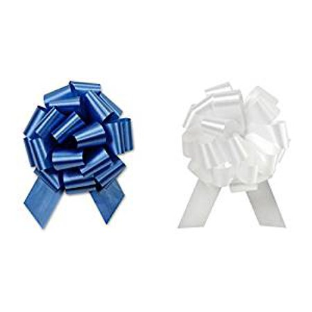 Christmas Hannukah Gift Wrap- Royal Blue & Gold, Silver or White Satin Pull Bows Value Pack - 12 Pcs (Royal Blue & - Pull Bow