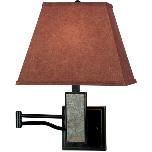 Kenroy Home Dakota Wall Swing Arm Lamp, Oil Rubbed Bronze with Natural Slate Accents