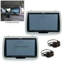 "Autopro ATP90MB 9"" Touchscreen Headrest Post Mount Monitors with DVD Players - Black"