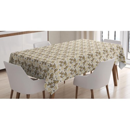 Scary Dinosaurs (Halloween Tablecloth, Dinosaur Skeletons and Fossils Bones Scary Ancient Creature Archaeology, Rectangular Table Cover for Dining Room Kitchen, 60 X 90 Inches, Beige Brown White, by Ambesonne)