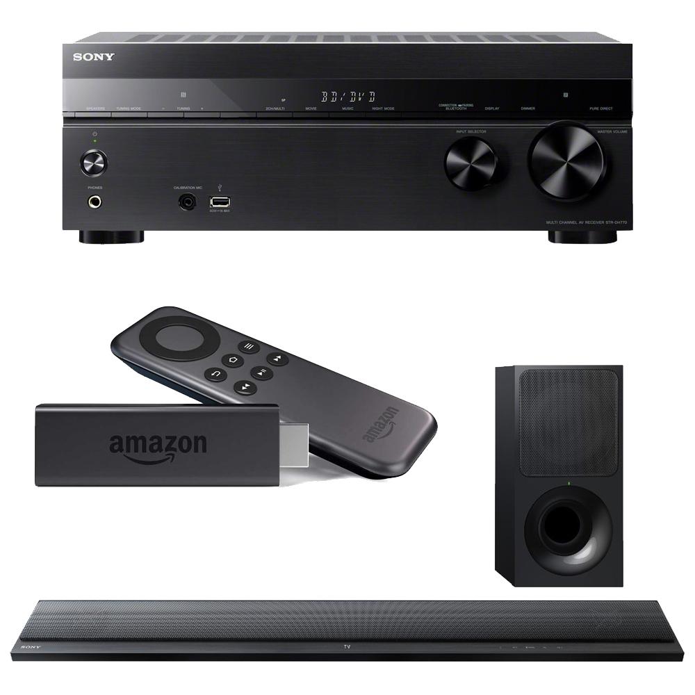 Sony STRDH770 Home Theater AVReceiver, HTCT390 SoundBar w/ Amazon Fire TV Stick