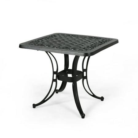 Cast Aluminum Black Finish (Isabel Outdoor Cast Aluminum Side Table with Woven Floral Border, Matte Black Finish )