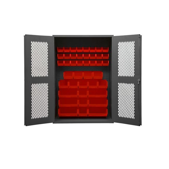 14 Gauge Flush Door Style Lockable Clearview Cabinet with 42 Red Hook on Bins, Gray - 48 in.