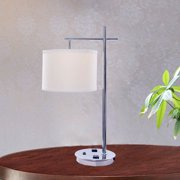 Fangio Lighting 26 inch Tech-Friendly Metal Table Lamp in Chrome Finish with 2 Convenience Outlets