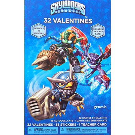 Skylanders Children's 32 Valentines Includes 35 stickers and Teacher Card