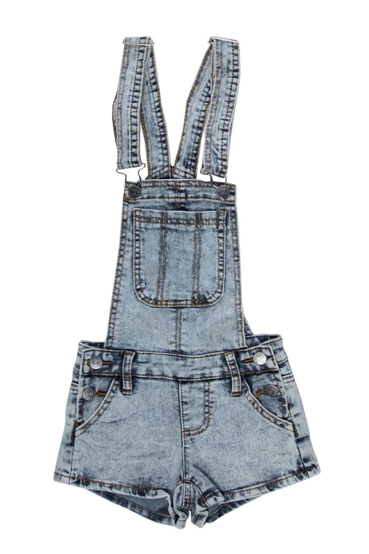 Girls Kids Front Pocket Side Button Suspender Shorts Overall JGSHO-4-Acid Blue