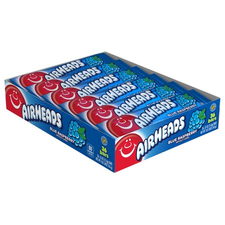 Airheads Candy Individually Wrapped Bars, Blue Raspberry, 0.55 Ounce (Bulk Pack of 36)](Bulk Blue Candy)