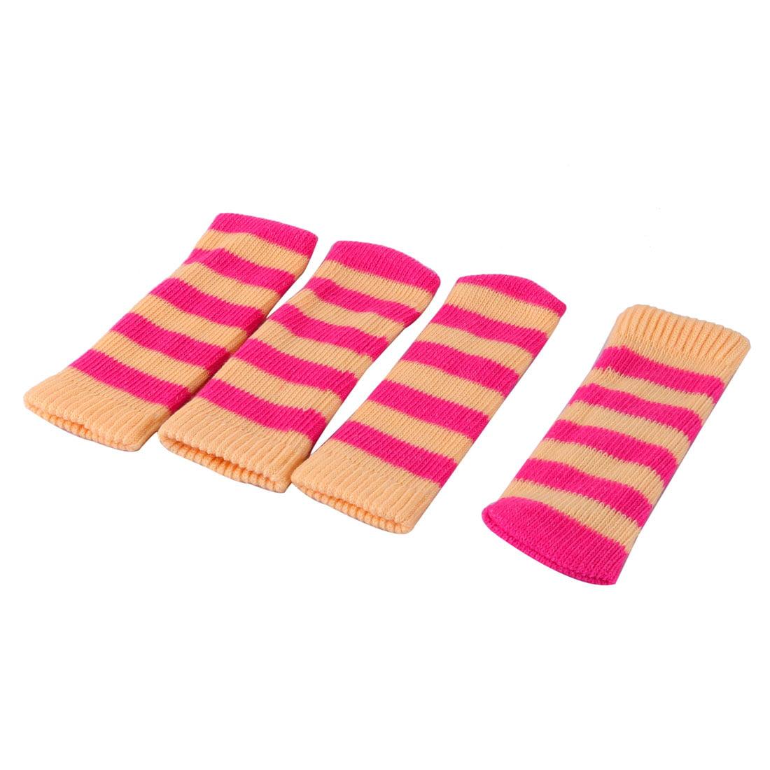 Kitchen Polyester Stripe Pattern Elastic Chair Desk Leg Sock Sleeve Cover 4 Pcs