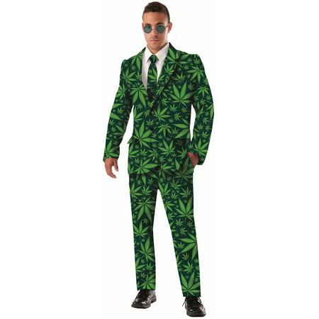 Adult Mens Pot Leaf Joint Venture Marijuana Business Suit Costume