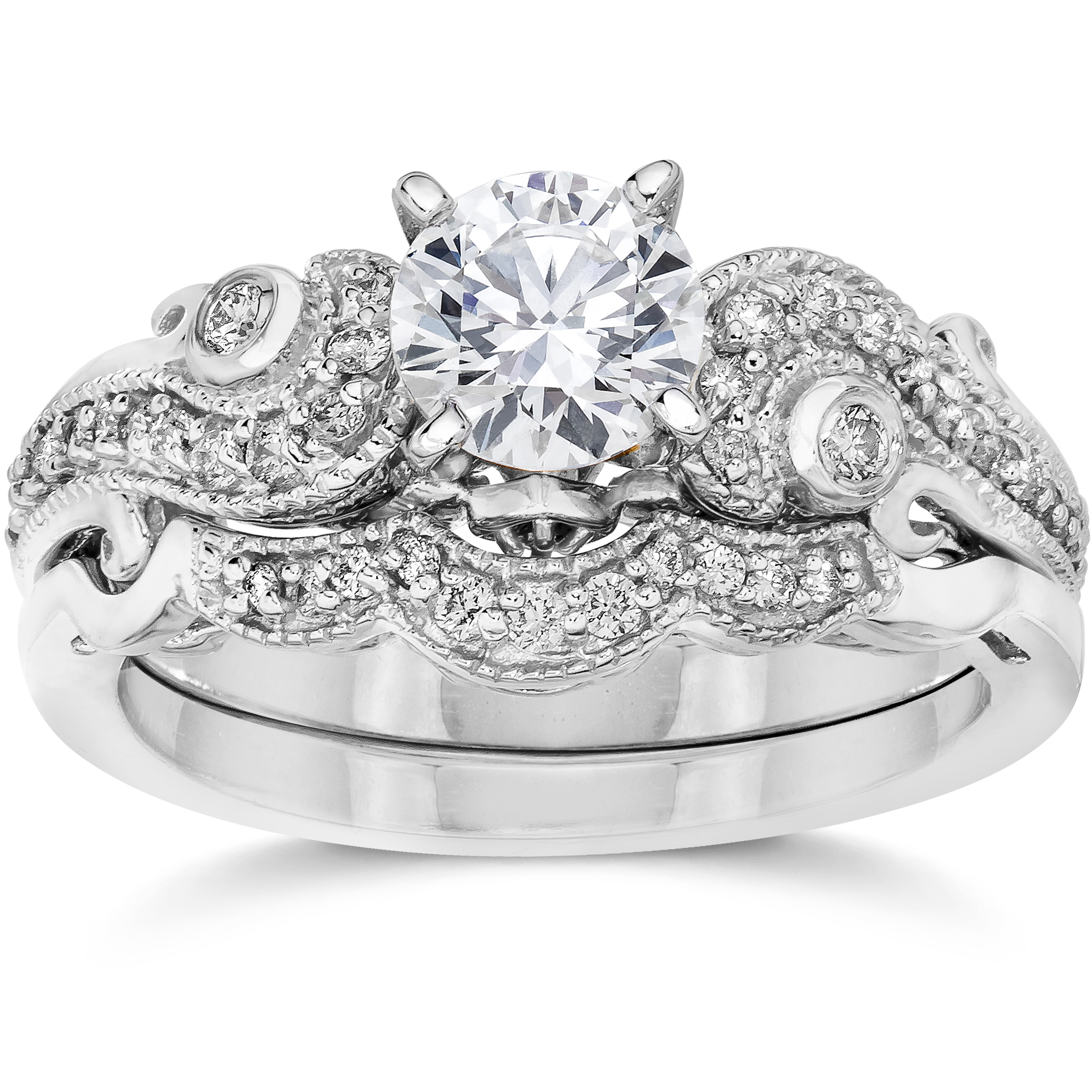 3 4ct Diamond Engagement Wedding Ring Matching Set 14K White Gold (J-K,I2-I3) by Pompeii3