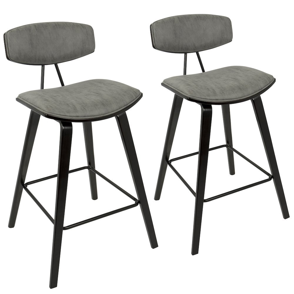 "Damato 26"" Mid-Century Modern Counter Stool in Espresso with Grey Fabric by Lumisource Set of 2 by"