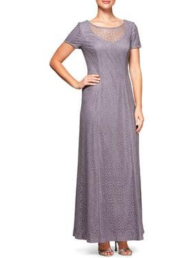 Alex Evenings Amethyst Purple Short-Sleeve Illusion Glitter Lace Gown 14