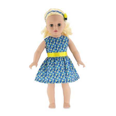 18 Inch Doll Clothes | Blue and Yellow Floral Easter Dress, Including Matching Flowered Headband | Fits American Girl