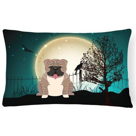 Carolines Treasures BB2311PW1216 Halloween Scary English Bulldog Brindle White Canvas Fabric Decorative Pillow - image 1 of 1