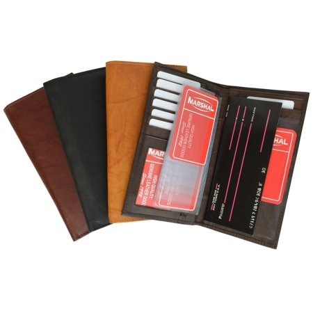 Genuine Leather Sim Checkbook Organizer ID Credit Card Holder Wallet 853 CF (C) - Quilt Checkbook Organizer
