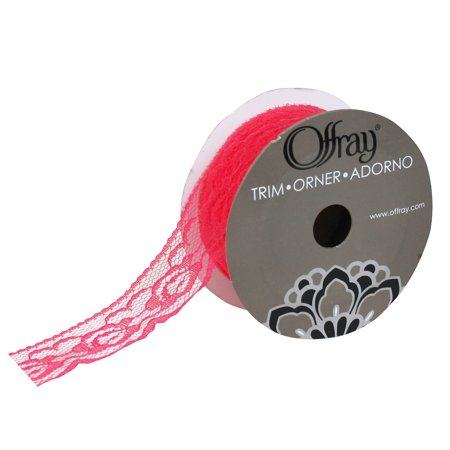 """Offray 1.25"""" Pink Empire Lace Trim, 3 Yards, 1 Each"""