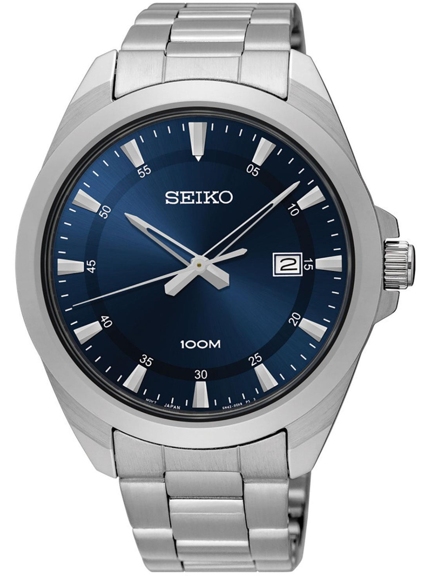 Seiko Men's Blue Dial Stainless Steel Watch with Date