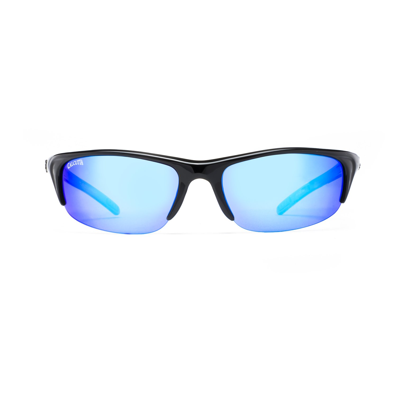 Calcutta IN1BM Inlet Sunglasses Shiny Black Frame Blue Mirror Lens