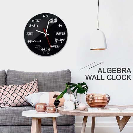 11.8inch Creative Metal Formula Algebra Math Wall Clock DIY Unique Matte Wall Clock For Bedroom Living Room Office Home Decoration