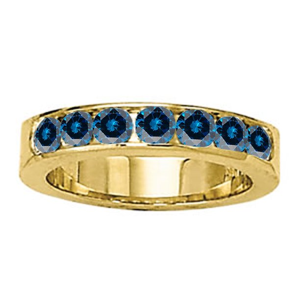 1 Ct Channel Setting Blue Diamond Wedding Band-Bridal Set- 14K Gold