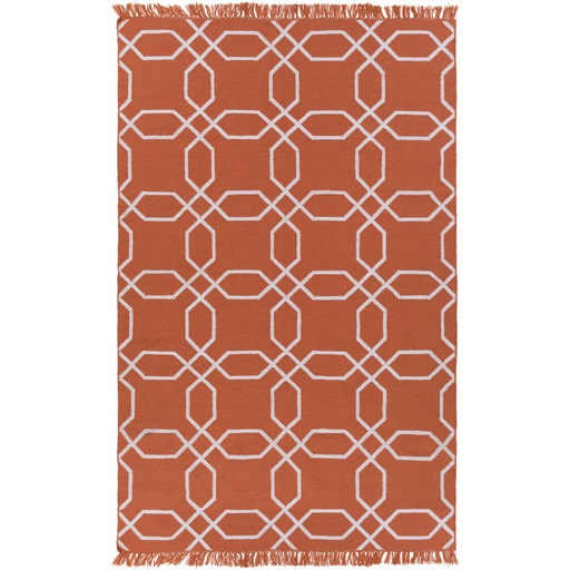 5' x 8' Octagon Lagoon Rust and Ivory Reversible Shed-Free Area Throw Rug