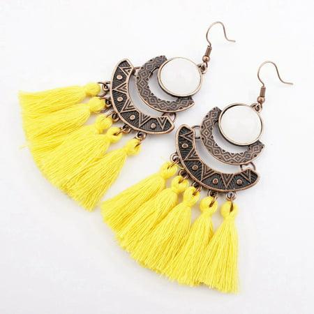 AkoaDa Bohemian Crystal Tassel Drop Earrings For Women Female Fashion Ethnic Long Red Black Fringe Dangle Earring 2019 Jewelry (Long Black Drop Earrings)
