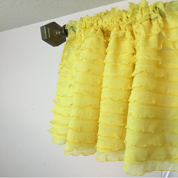 Yellow Ruffle Valance Curtain Sheer Window Treatment by A Vision to Remember