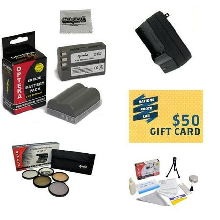 2 Battery Packs For Nikon ENEL3E Nikon D700, D300, D200, D100, D90, D80, D70, D70s, & D50 DSLR Cameras, Charger, 5 Piece Filter Kit, Deluxe Cleaning Kit, Mini Tripod, $50 Photo Print Gift Card!