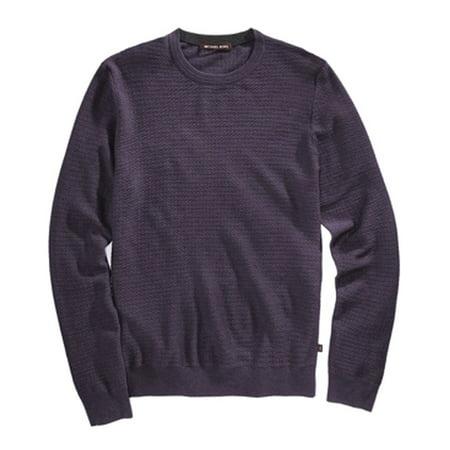 Michael Kors Purple Fig Mens Size XL Texture Crewneck Wool Sweater