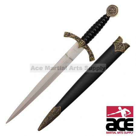 14   Medieval Designed Dagger With Knight And Horse On Handle And Black Scabbard With Dusty Gold Finish