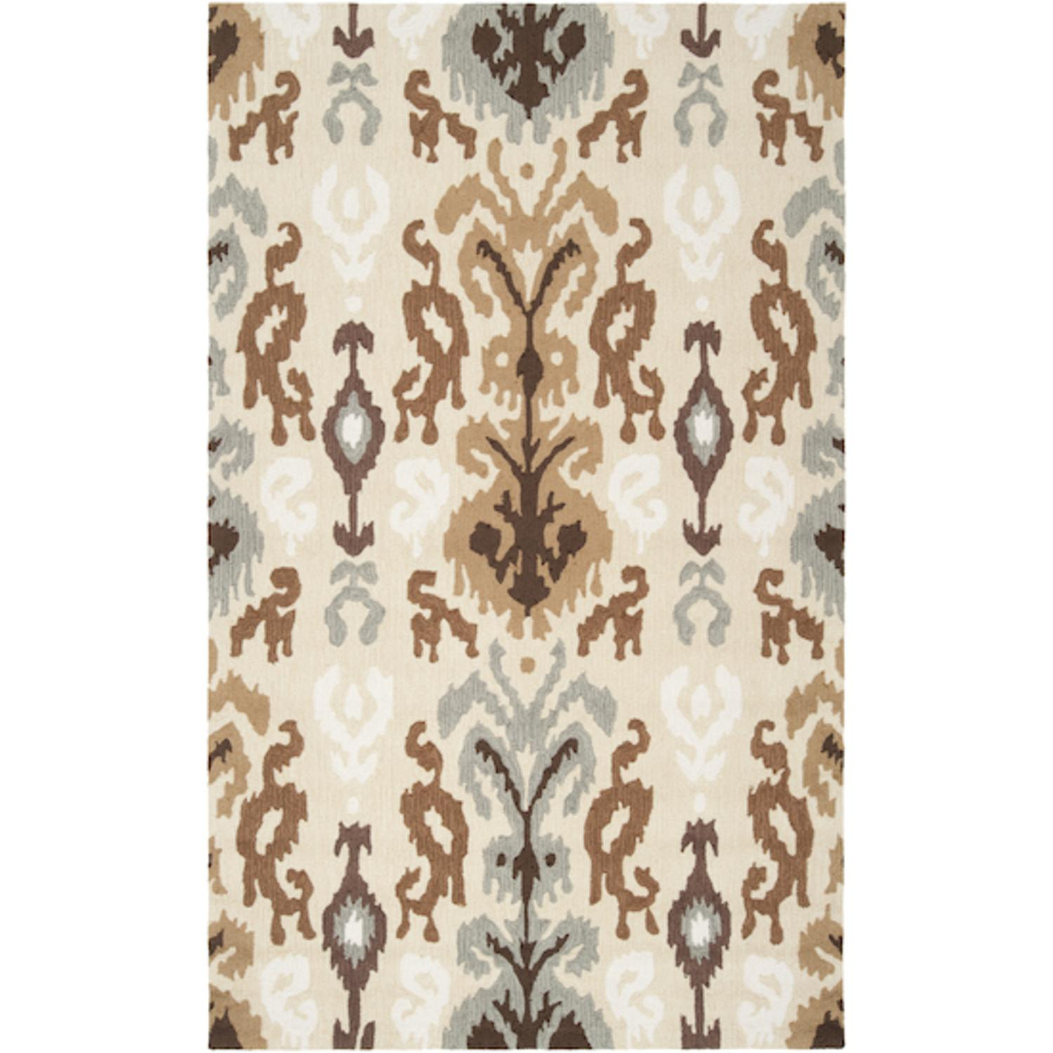 8' x 10' Calcutta Light Green and Dark Taupe Hand Hooked Area Throw Rug
