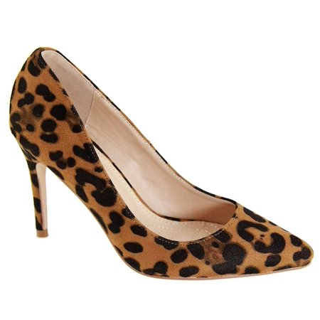 - Misty-4 Women Pointed Toe Slip On Stiletto Heel Pumps Anima Print Leopard